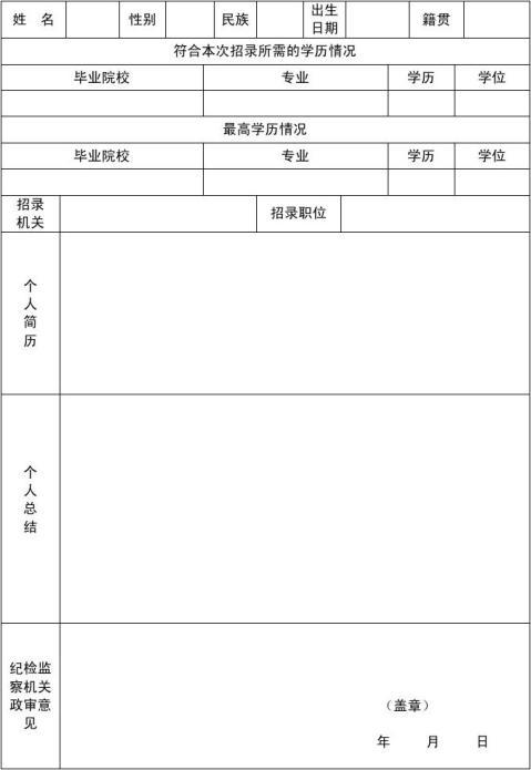 重庆市公务员政审考察表
