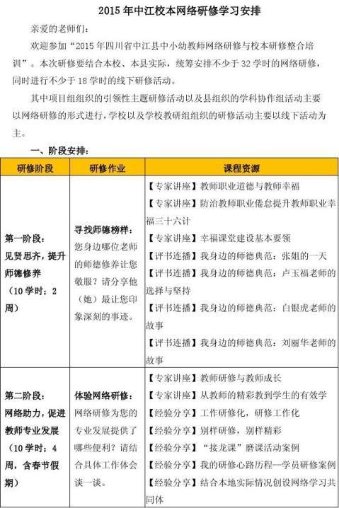 20xx年中江校本网络研修学习安排