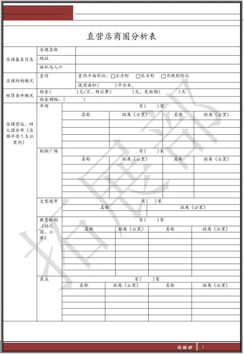 店铺商圈分析表doc