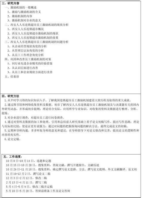 西安人人乐连锁超市员工激励机制问题研究开题报告
