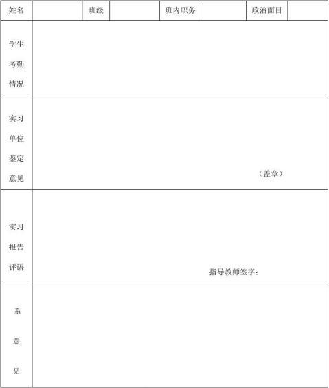 会计系实习鉴定表