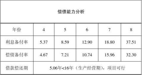 课设项目财务评价报告