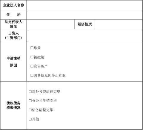 17非公司企业法人注销登记申请书
