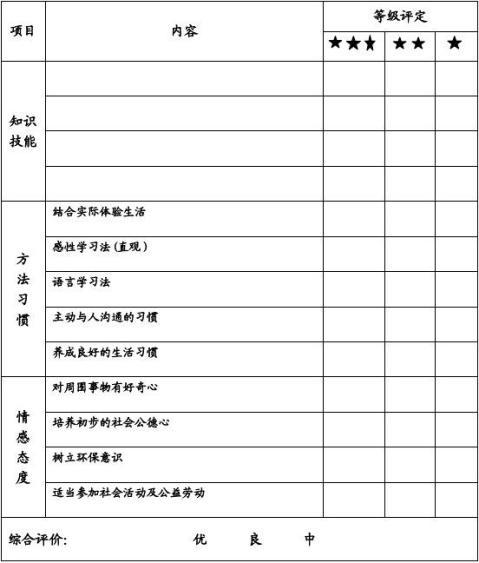 学生素质报告册