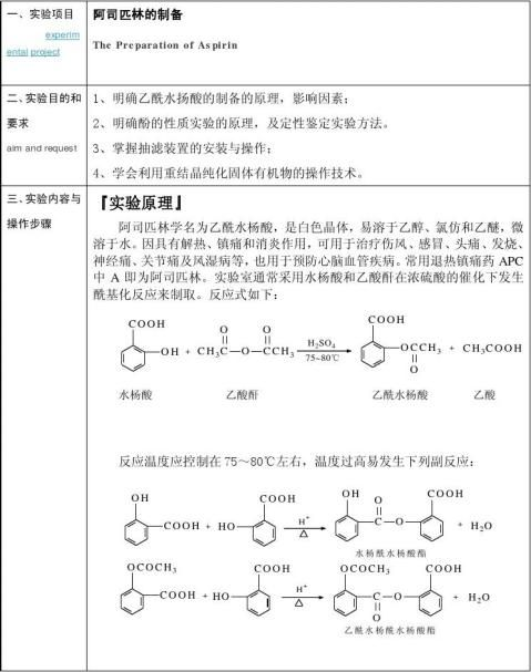 阿司匹林的制备实验报告