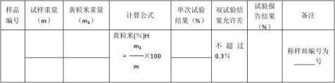 中粮巢湖米业大米检测原始记录表1