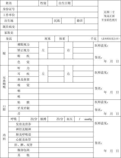 执业护士体检表