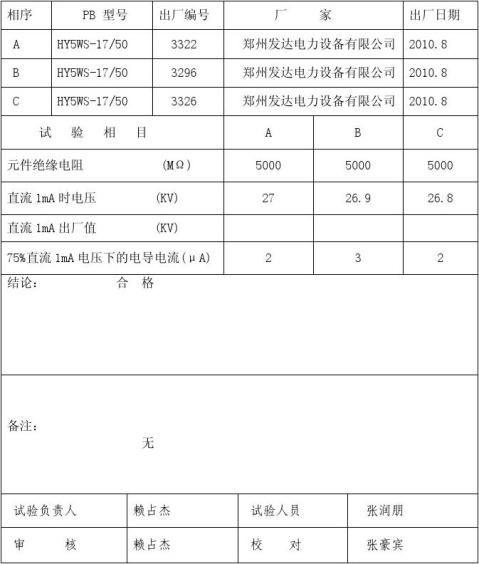 10kv避雷器试验报告