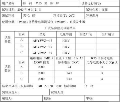 氧化锌避雷器试验报告