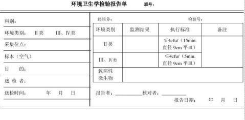 环境卫生学检验报告单