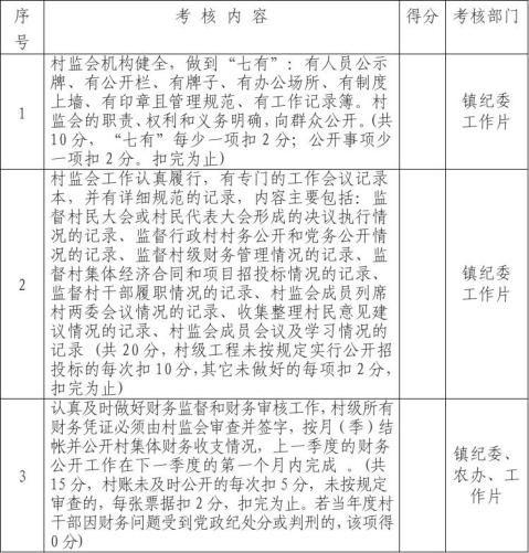 诸葛镇村监会主任日常考核表