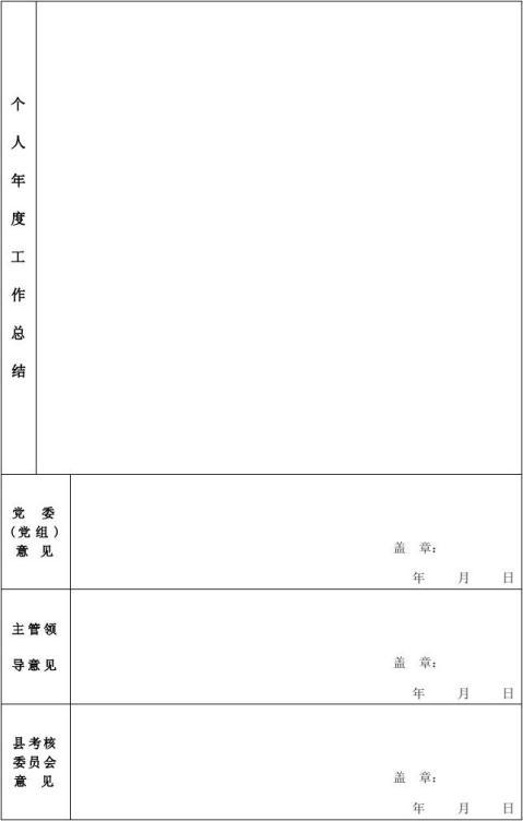 领导干部年度考核登记表