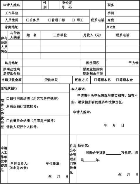 个人住房商业贷款转住房公积金贷款申请表