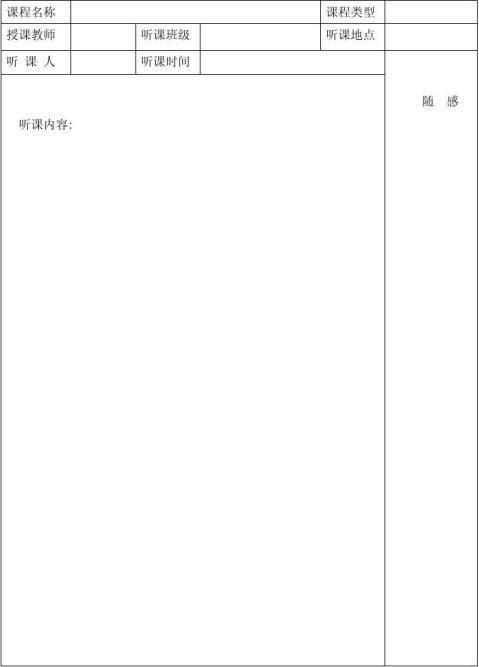 小学数学教研组听课记录表