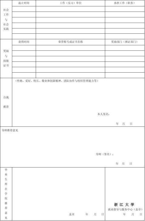 20xx年研究生就业推荐表