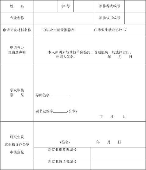 研究生就业推荐表就业协议书补办申请表