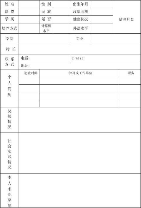 川北医学院毕业研究生就业推荐表