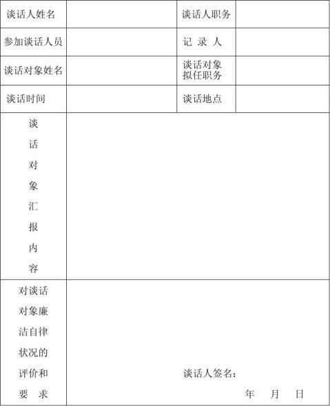 领导干部任前廉政谈话记录