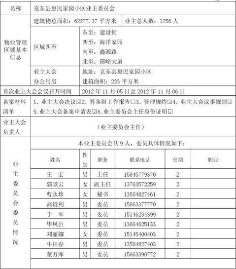 业主委员会备案申请表1