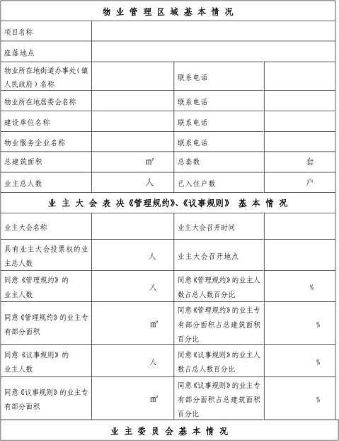 业主委员会备案申请报告