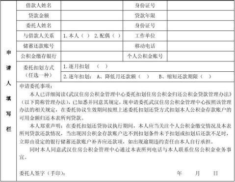 武汉市委托扣划住房公积金归还公积金贷款申请表