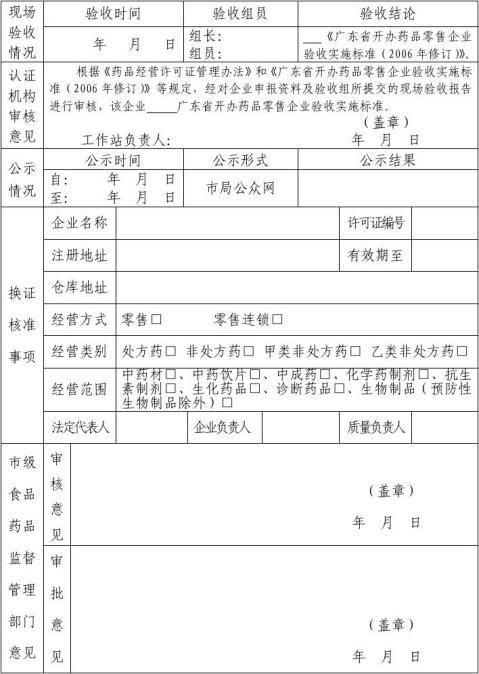 药品经营许可证换证申请表