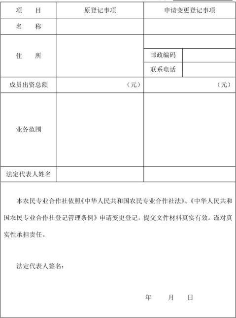 农民专业合作社变更登记申请书