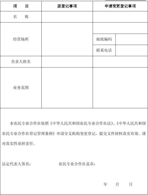 农民专业合作社分支机构变更登记申请书