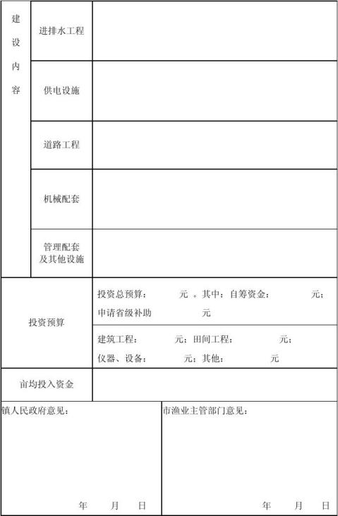 水产养殖池塘标准化改造项目申请表