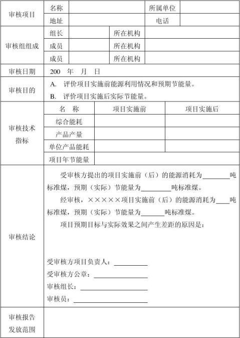节能量审核报告样式