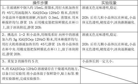 明矾晶体制取实验报告