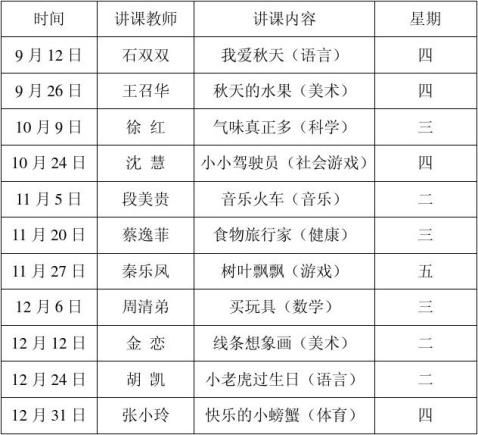 新开镇中心幼儿园20xx年秋季教研活动安排表