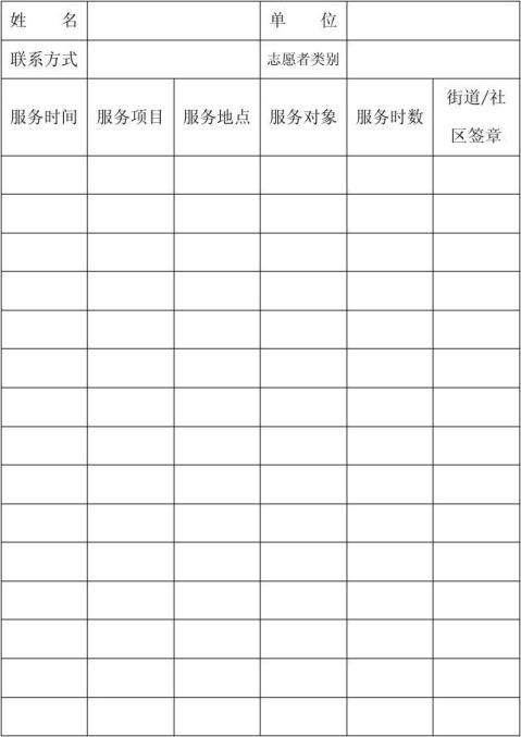 学雷锋志愿者活动记录表
