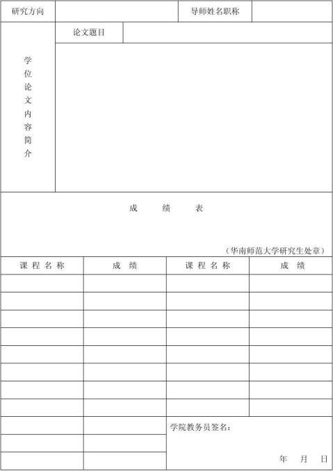 毕业研究生就业推荐表
