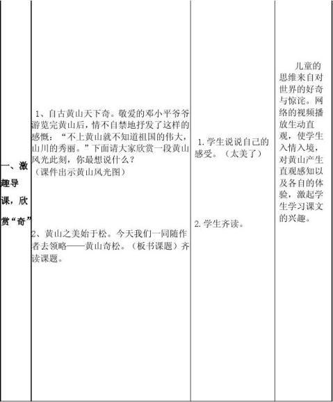 国培计划黄山奇松教学设计