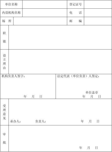 6民办非企业单位内设机构备案表