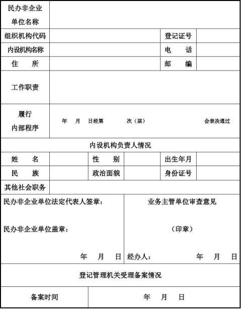 民办非企业单位内设机构备案表